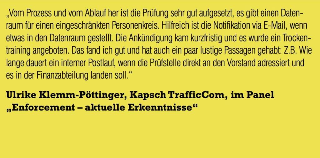 "Ulrike Klemm-Pöttinger, Kapsch TrafficCom, im Panel ""Enforcement – aktuelle Erkenntnisse"" (06.11.2015)"