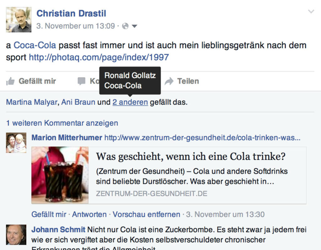 Coca-Cola liked meine Coca-Cola-Meldung, für die ich geschimpft wurde. .. (08.11.2015)