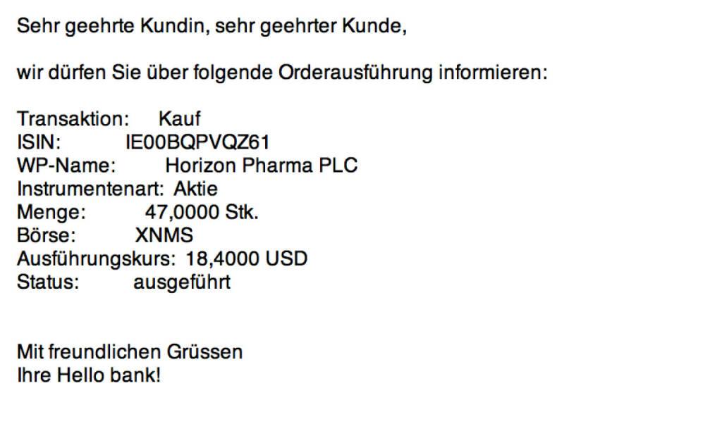 Tag 91: Kauf 47 Horizon Pharma zu 18,4 USD (11.11.2015)