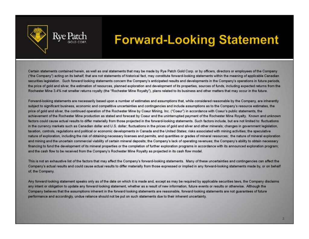 Forward-Looking Statement (12.11.2015)
