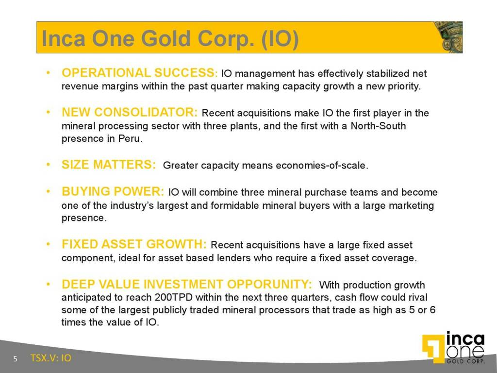 Inca One Gold Corp. (IO) (12.11.2015)