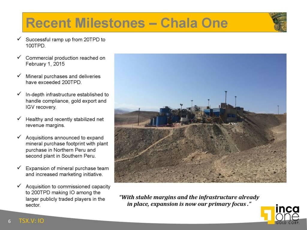 Recent Milestones – Chala One (12.11.2015)