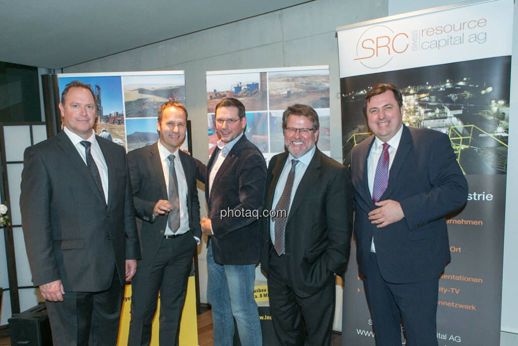 Bill Howald (Rye Patch Gold), Joe Brunner (SmallCap Investor), Björn Paffrath (Fund adviser), George Moen (Inca One), Jochen Staiger (Swiss Resource Capital AG), 2nd Vienna Gold & Silver Night , © Martina Draper/photaq (12.11.2015)