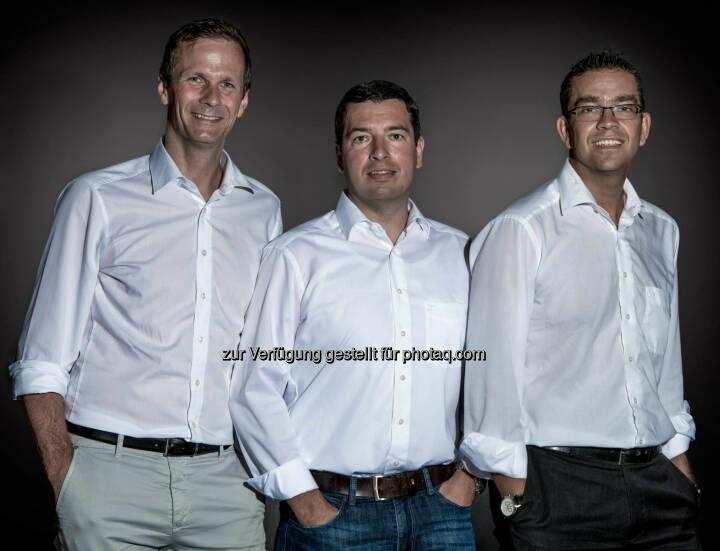 Klaus Huttary (links), Roland Leuprecht (mitte) und Jakob Lohfeyer (rechts), Konzept Schmiede: Neuer Dienstleister für Immobilienfinanzierungen in Anif gegründet. (C)  Sebastien Ouvrard