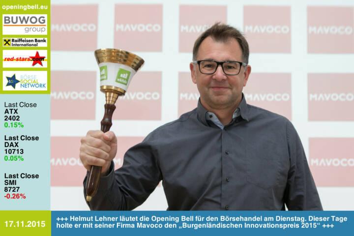 """#openingbell am 17.11.: Helmut Lehner läutet die Opening Bell für den Börsehandel am Dienstag. Dieser Tage holte er mit seiner Firma Mavoco den """"Burgenländischen Innovationspreis 2015"""" http://www.openingbell.eu http://www.mavoco.com http://www.freeeway.com"""