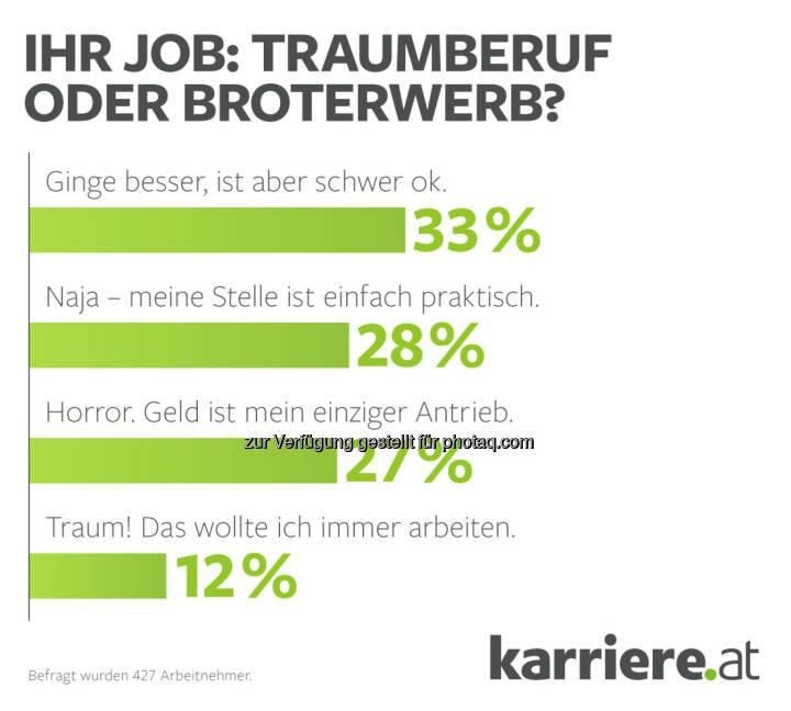 """Ihr Job? Traumberuf oder Broterwerb : karriere.at Umfrage: Jeder vierte Arbeitnehmer sagt: """"Geld ist mein einziger Antrieb!"""": Fotocredit: karriere.at"""