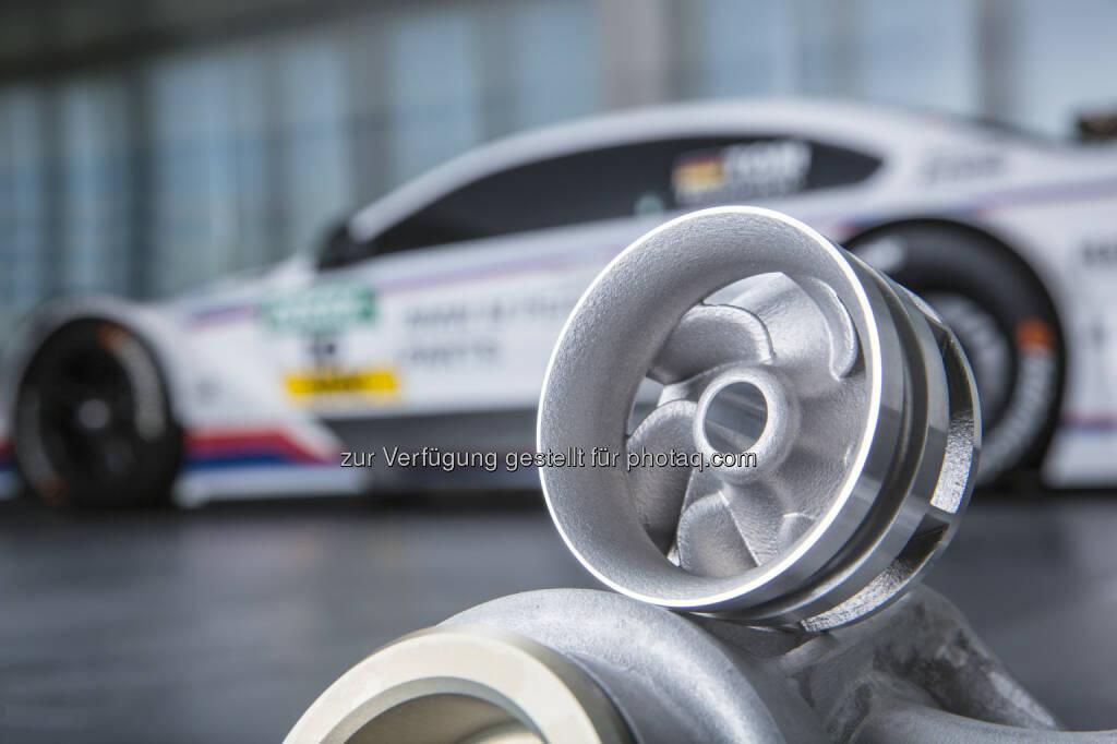 Wasserpumpenrad aus 3D-Drucker für Einsatz in DTM und Z4 GT3 : 25 Jahre 3D-Druck : BMW Group ist Pionier in additiven Fertigungsverfahren : © BMW Group, © Aussendung (18.11.2015)