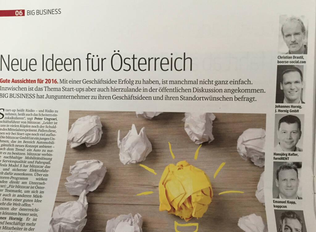 Als grauhaariger Jungunternehmer im Kurier vom 19.11. mit boerse-social.com und runplugged.com (19.11.2015)