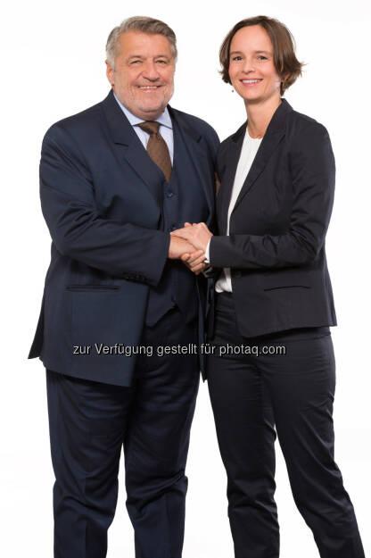 Otto Ordelt, Ingrid Janker: Neue Geschäftsführerin Knauf GmbH für Österreich und Slowenien : Otto Ordelt hat nach über 12 Jahren die Geschäftsführung der Knauf GmbH zurückgelegt : Fotocredit: Stephan Huger/Knauf, © Aussendung (19.11.2015)
