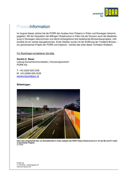 Porr mit neuen Infrastrukturprojekten , Seite 2/2, komplettes Dokument unter http://boerse-social.com/static/uploads/file_487_porr_mit_neuen_infrastrukturprojekten.pdf (19.11.2015)