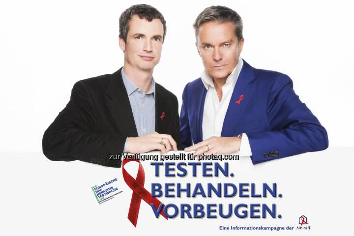 Philipp Dirnberger (GF Aids Hilfe Wien), Alfons Haider (Schauspieler) : Start der Europäischen HIV- und Hepatitis-Testwoche - eine frühe Diagnose bringt viele Vorteile : Fotocredit: Aids Hilfe Wien/Hammerschmid