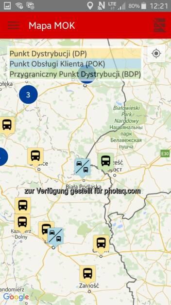 Screenshot der viaToll-App für Android und iOS : Kapsch TrafficCom entwickelt App für viaToll-User in Polen : Gratis-App vereinfacht Nutzung von viaToll-Services : Fotocredit: Kapsch AG, © Aussendung (23.11.2015)