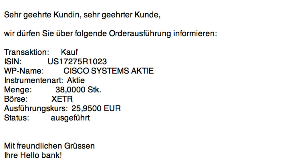 Tag 99: Kauf 38 Cisco Systems zu 25,95 Euro (23.11.2015)