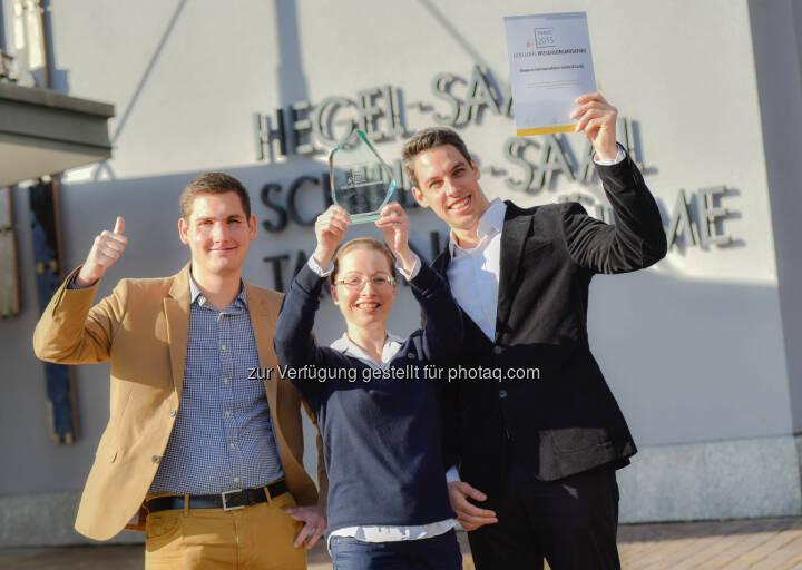 """Bruno Petrovic (Ltr. Operationsmanagement, Qualitätsmanagement und IT, CSR-Verantwortlicher, Co-GF Biogena), Daniela Toure-Demmerer (Ltr. Wissensmanagement, Informationsmanagement), Georg Hofstätter (Stellv. Ltr.  Wissensmanagement, Informationsmanagement) : 11. Stuttgarter Wissensmanagement-Tagen 2015 : Biogena ist Finalist für den Award """"exzellente Wissensorganisation"""" : Fotocredit: Biogena/Weingartner"""