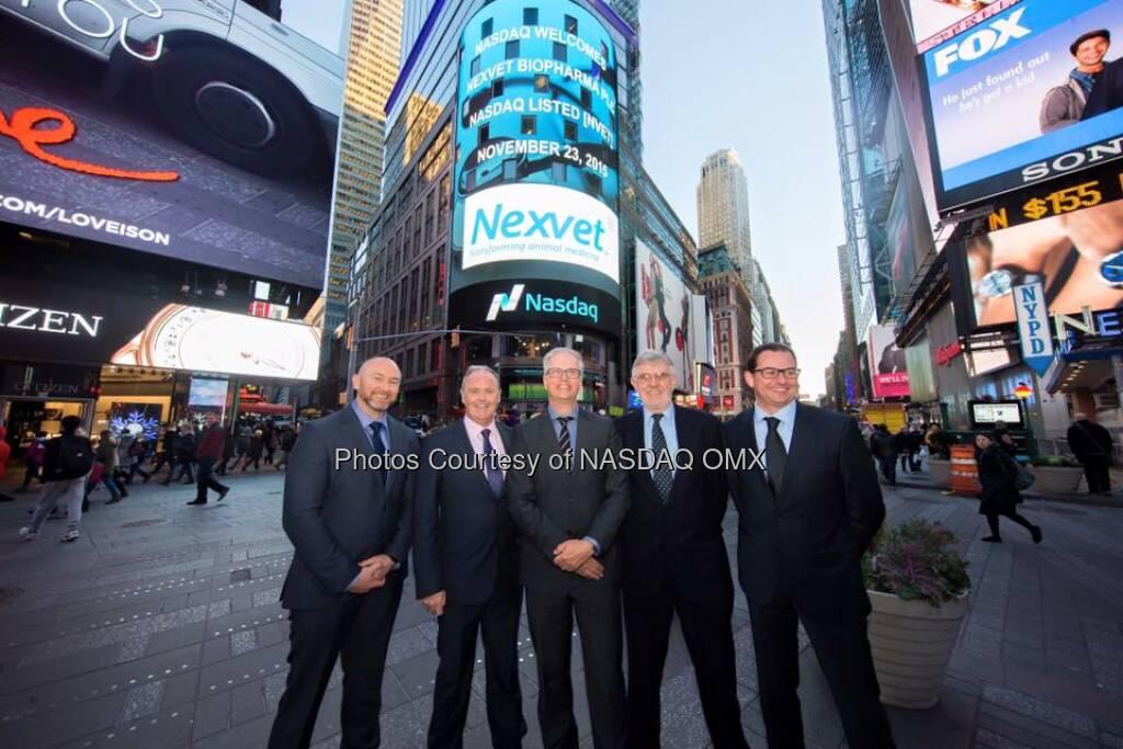 Nexvet rang the Nasdaq Closing Bell! $NVET  Source: http://facebook.com/NASDAQ (24.11.2015)