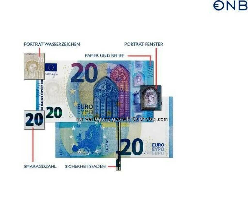 """Neue 20-Euro-Banknote mit Fenster für den Durchblick : Die Echtheitsprüfung kann wie gewohnt mit """"Fühlen – Sehen – Kippen"""" ohne technische Hilfsmittel durchgeführt werden. Die bekannten Sicherheitsmerkmale der bereits ausgegebenen 5- und 10-Euro-Banknoten – wie die Smaragdzahl, das Porträt-Wasserzeichen und der Sicherheitsfaden – finden sich selbstverständlich auch auf der neuen 20-Euro-Banknote : © OeNB, © Aussender (25.11.2015)"""