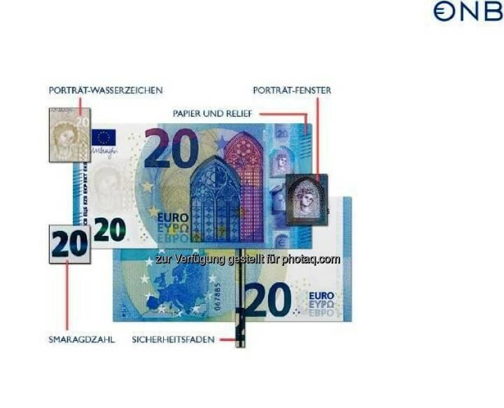 """Neue 20-Euro-Banknote mit Fenster für den Durchblick : Die Echtheitsprüfung kann wie gewohnt mit """"Fühlen – Sehen – Kippen"""" ohne technische Hilfsmittel durchgeführt werden. Die bekannten Sicherheitsmerkmale der bereits ausgegebenen 5- und 10-Euro-Banknoten – wie die Smaragdzahl, das Porträt-Wasserzeichen und der Sicherheitsfaden – finden sich selbstverständlich auch auf der neuen 20-Euro-Banknote : © OeNB"""
