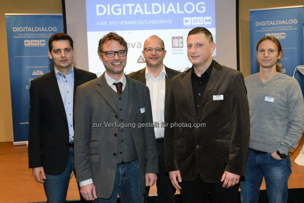 Robert Möstl (selbständig), Stefan Grünwald (FH Campus 02), Herwig Zeiner (Joanneum Research), Selver Softic (FH Campus 02), Roman Kern (Know Center) : 35. Digital Dialog zum Thema Data Science – Aus Daten Wissen schaffen : Fotocredit: Digitaldialog/APA-Fotoservice/Jamnig, © Aussender (25.11.2015)