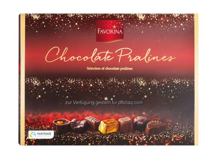 Favorina Pralinen : Lidl Österreich übernimmt Verantwortung :100% zertifizierte Weihnachtsschokolade unter der Qualitätsmarke Favorina - Kakao aus nachhaltigem Anbau : Fotocredit: Lidl Österreich