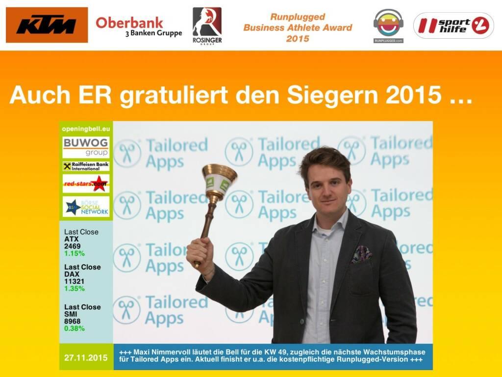 Auch ER gratuliert den Siegern 2015 … (01.12.2015)