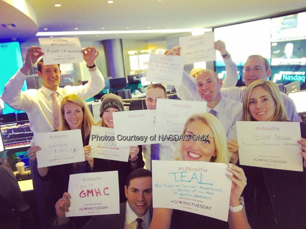The #Nasdaq Market Intelligence Desk supports #GivingTuesday @blackbaud @stjude @gmhc @guidingeyes  Source: http://facebook.com/NASDAQ (02.12.2015)