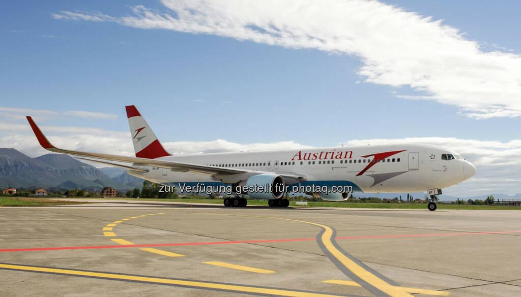 Austrian Airlines Boeing 767 : Austrian Airlines fliegt nach Havanna : Ab 25. Oktober 2016 einmal pro Woche mit einer Boeing 767 nach Kuba : Karibik erstmals seit fünf Jahren wieder im Flugangebot : © Austrian Airlines, © Aussendung (04.12.2015)
