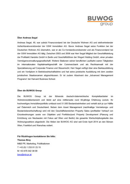 Buwog: Andreas Segal neuer CFO, Seite 2/2, komplettes Dokument unter http://boerse-social.com/static/uploads/file_511_buwog_andreas_segal_neuer_cfo.pdf (09.12.2015)