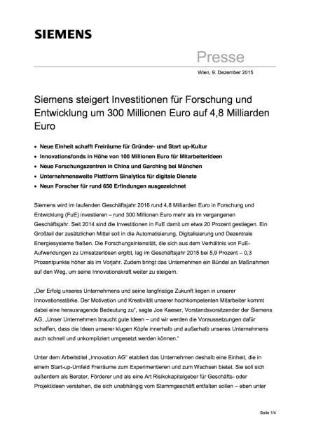 Siemens steigert Investitionen für Forschung und Entwicklung , Seite 1/4, komplettes Dokument unter http://boerse-social.com/static/uploads/file_514_siemens_steigert_investitionen_für_forschung_und_entwicklung.pdf (09.12.2015)