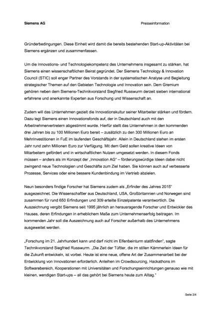 Siemens steigert Investitionen für Forschung und Entwicklung , Seite 2/4, komplettes Dokument unter http://boerse-social.com/static/uploads/file_514_siemens_steigert_investitionen_für_forschung_und_entwicklung.pdf (09.12.2015)