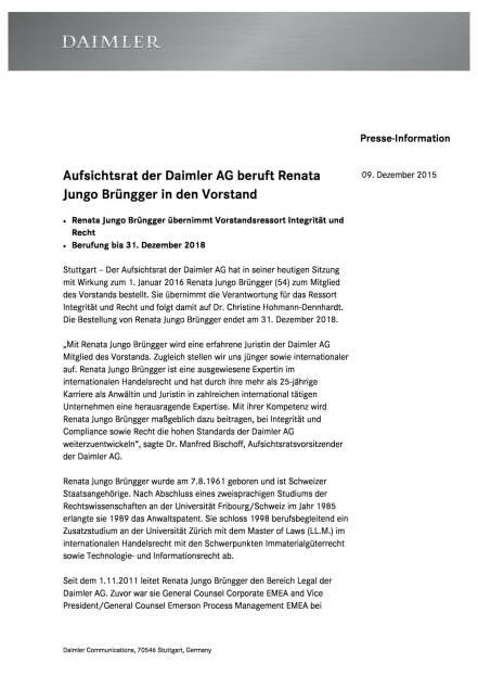 Daimler AG beruft Renata Jungo Brüngger in den Vorstand, Seite 1/2, komplettes Dokument unter http://boerse-social.com/static/uploads/file_515_daimler_ag_beruft_renata_jungo_brungger_in_den_vorstand.pdf (09.12.2015)