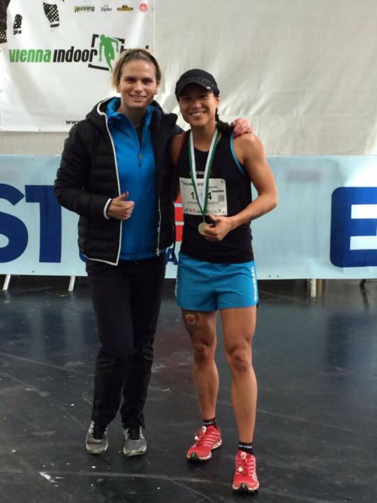 Elisabeth Niedereder: Sieg beim Vienna Indoor Trail Run über die 5km Distanz und Annabelle Mary Konczer: Sieg beim Vienna Indoor Trail Run über die 10km Distanz