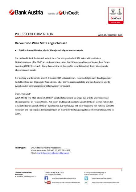Bank Austria: Verkauf von Wien Mitte abgeschlossen, Seite 1/1, komplettes Dokument unter http://boerse-social.com/static/uploads/file_524_bank_austria_verkauf_von_wien_mitte_abgeschlossen.pdf (15.12.2015)