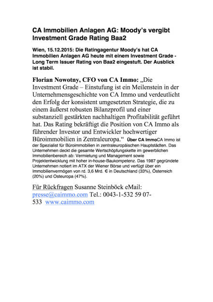 CA Immo: Moody's vergibt Investment Grade Rating Baa2, Seite 1/1, komplettes Dokument unter http://boerse-social.com/static/uploads/file_523_ca_immo_moodys_vergibt_investment_grade_rating_baa2.pdf (15.12.2015)