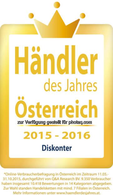 """Lidl Österreich ist Händler des Jahres : Kunden wählen beliebteste Handelsketten : Lidl Österreich belegt in der Kategorie """"Diskonter"""" den ersten Platz : Fotocredit: Lidl Österreich, © Aussendung (16.12.2015)"""