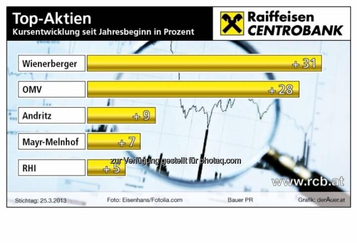 Top-Aktien Wien: Kursentwicklung seit Jahresbeginn in Prozent (c) derAuer Grafik Buch Web