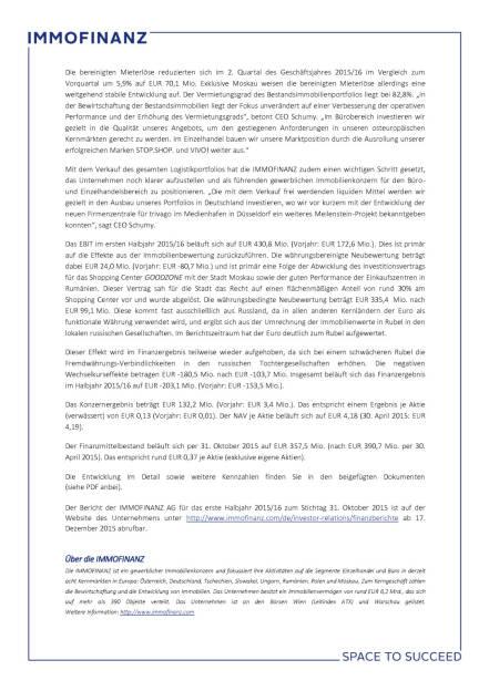 Immofinanz Halbjahresergebnis, Seite 2/3, komplettes Dokument unter http://boerse-social.com/static/uploads/file_530_immofinanz_halbjahresergebnis.pdf (16.12.2015)