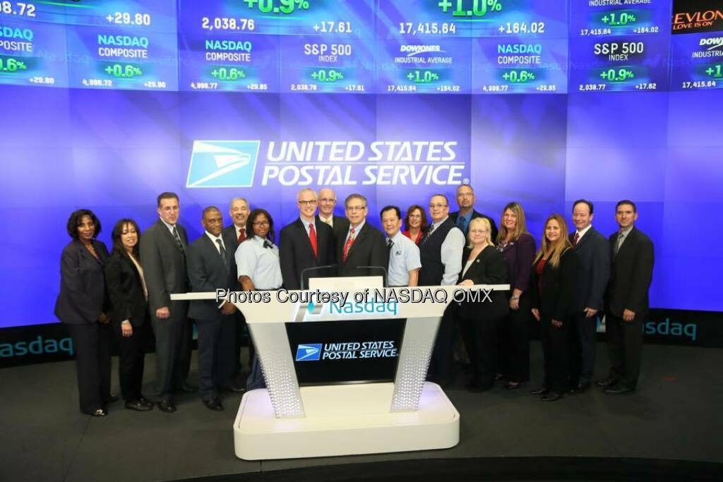 The United States Postal Service rings the Nasdaq Closing Bell!  Source: http://facebook.com/NASDAQ (23.12.2015)