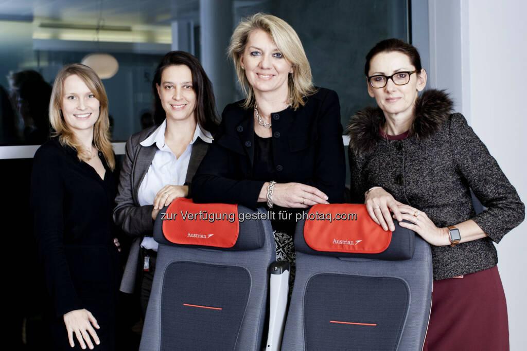 Stefanie Kunath, Alexandra Goldschmidt, Andrea Pernkopf, Isabella Reichl : Vier neue Leiterinnen im Top-Management bei Austrian Airlines : Fotocredit: Austrian Airlines – Michele Pauty, © Aussendung (28.12.2015)