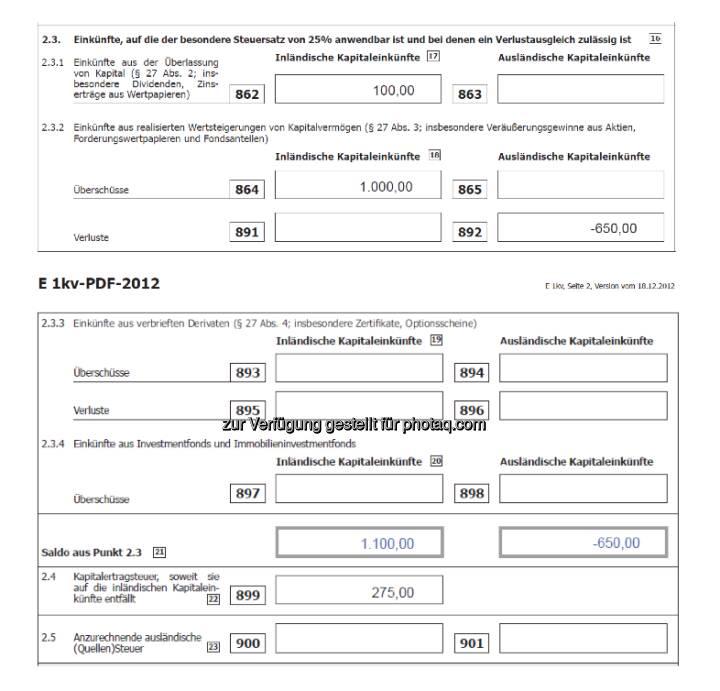 Deloitte: Das Steuerformal E1 kv-2012 anhand eines Bespiels, siehe http://www.christian-drastil.com/2013/03/31/drastil-fragt-privatpersonen-und-kapitalvermogen-wie-funktioniert-das-neue-steuerformular-e1-kv-2012/