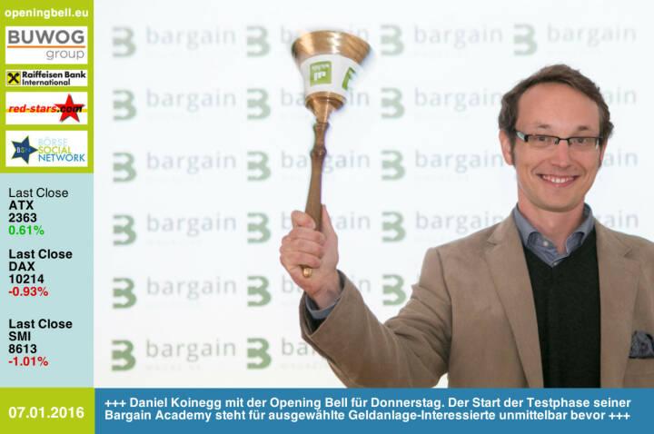 #openingbell am 7.1.: Daniel Koinegg mit der Opening Bell für Donnerstag. Der Start der Testphase seiner Bargain Academy steht für ausgewählte Geldanlage-Interessierte unmittelbar bevor http://bargain-academy.com/ http://www.openingbell.eu