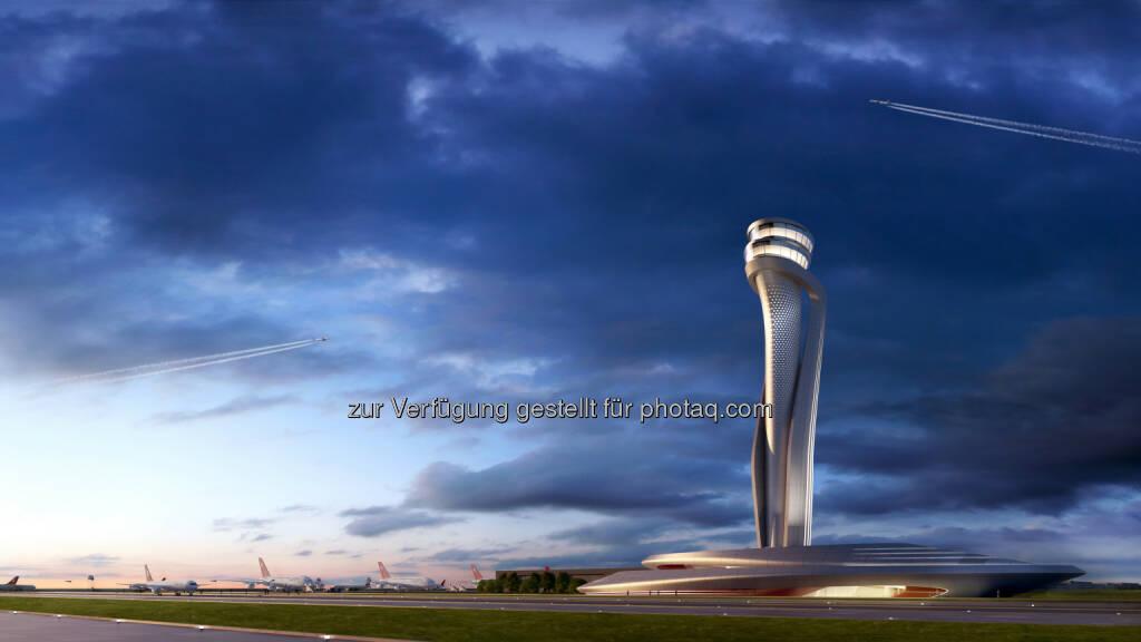Virtuelle Darstellung des geplanten Towers : Neues Wahrzeichen für Istanbul : Ein spektakulärer Tower in Form einer riesigen Tulpe wird zum Erkennungszeichen des neuen Flughafens in Istanbul werden. In einem internationalen Wettbewerb um den Bau des künftigen Kontrollturms entschied sich das Betreiber-Konsortium IGA für den Aufsehen erregenden Entwurf der Unternehmen AECOM und Pininfarina : Fotocredit: IGA, © Aussendung (07.01.2016)