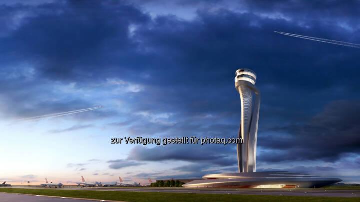 Virtuelle Darstellung des geplanten Towers : Neues Wahrzeichen für Istanbul : Ein spektakulärer Tower in Form einer riesigen Tulpe wird zum Erkennungszeichen des neuen Flughafens in Istanbul werden. In einem internationalen Wettbewerb um den Bau des künftigen Kontrollturms entschied sich das Betreiber-Konsortium IGA für den Aufsehen erregenden Entwurf der Unternehmen AECOM und Pininfarina : Fotocredit: IGA