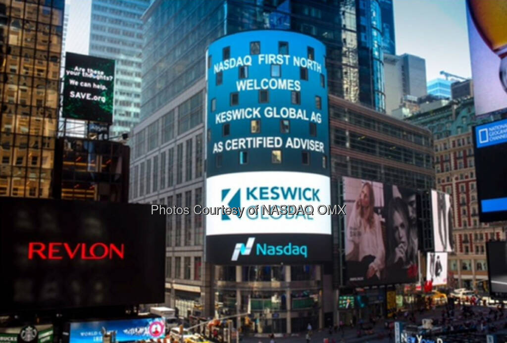 Nasdaq First North Welcomes Keswick Global AG As Certified Adviser (12.01.2016)