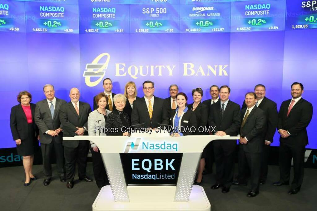 Equity Bank rings the Nasdaq Closing Bell! $EQBK  Source: http://facebook.com/NASDAQ (12.01.2016)