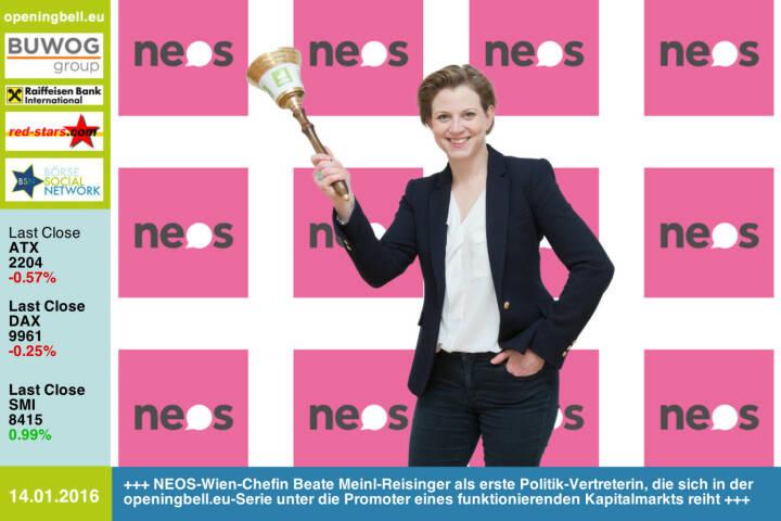 #openingbell am 14.1.: NEOS-Wien-Chefin Beate Meinl-Reisinger als erste Politik-Vertreterin, die sich in der openingbell.eu-Serie unter die Promoter eines funktionierenden Kapitalmarkts reiht https://neos.eu http://www.openingbell.eu