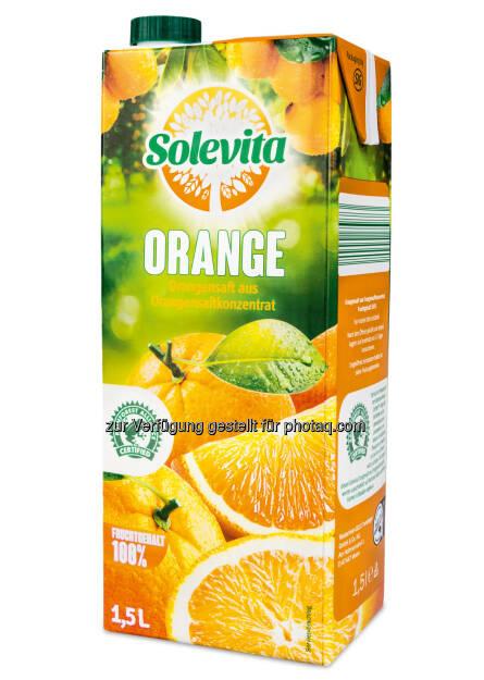 Solevita-Orangensaft : Zertifizierter Orangensaft bei Lidl Österreich - mit dem Rainforest Alliance Certified™-Siegel gekennzeichnet : Fotocredit: Lidl Österreich, © Aussender (14.01.2016)