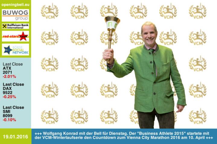 #openingbell am 19.1.: Wolfgang Konrad mit der Opening Bell für Dienstag. Der Business Athlete 2015 startete mit der VCM-Winterlaufserie den Countdown zum Vienna City Marathon 2016 am 10. April http://www.vienna-marathon.com http://www.runplugged.com/baa http://www.openingbell.eu