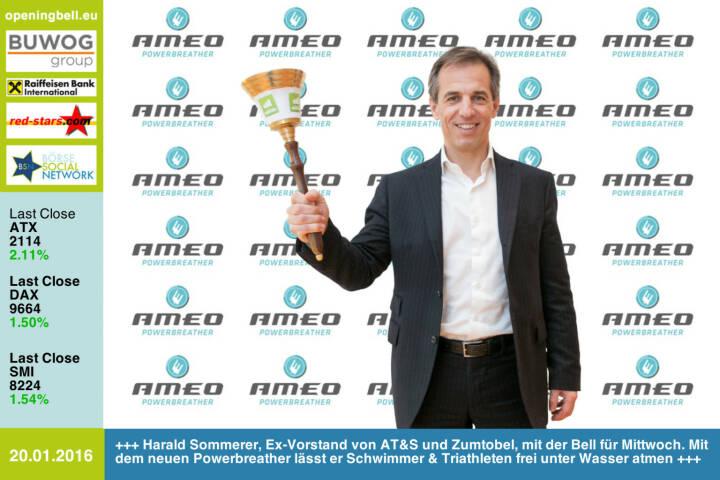 #openingbell am 20.1.: Harald Sommerer, Ex-Vorstand von AT&S und Zumtobel, mit der Opening Bell für Mittwoch. Mit dem neuen Powerbreather lässt er Schwimmer & Triathleten frei unter Wasser atmen http://www.powerbreather.com http://www.openingbell.eu