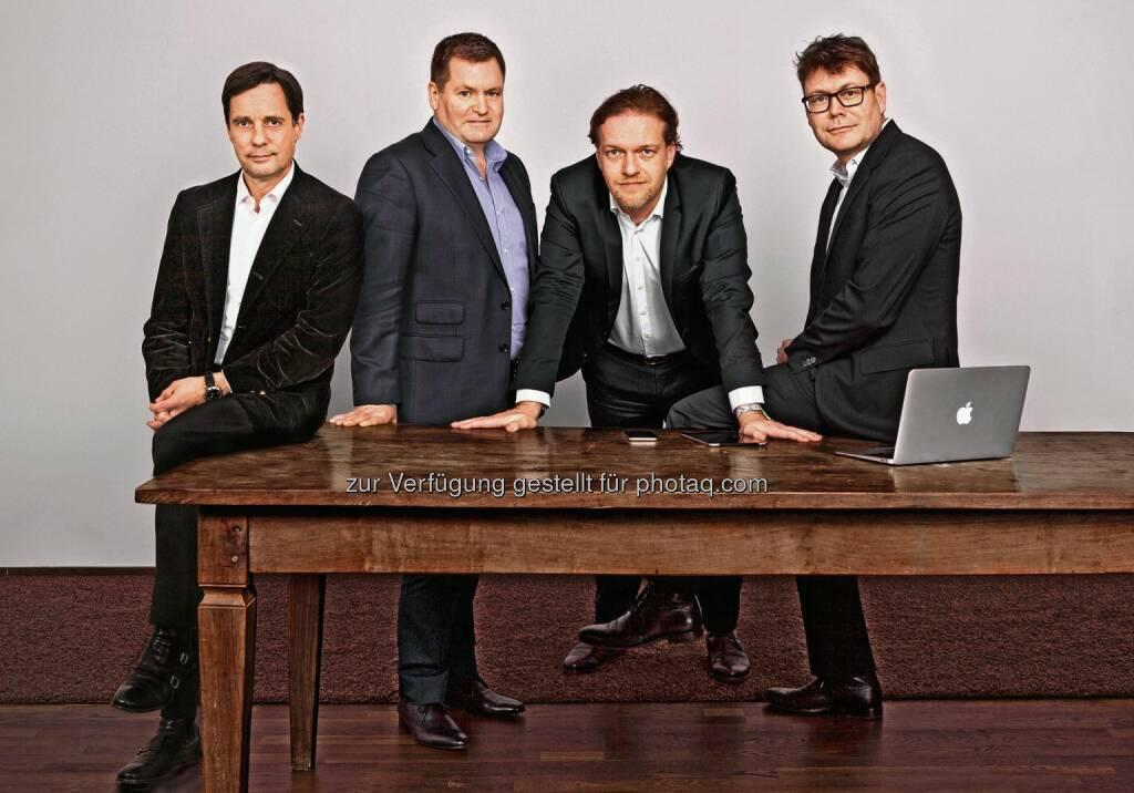 Gregor Vogelsang, Sean King, Lukas Kircher, Rainer Burkhardt  : Die auf Content Marketing spezialisierte Agenturgruppe C3 kauft die Londoner Agentur Seven : Fotocredit: C3 Creative Code and Content Gmbh, © Aussendung (20.01.2016)