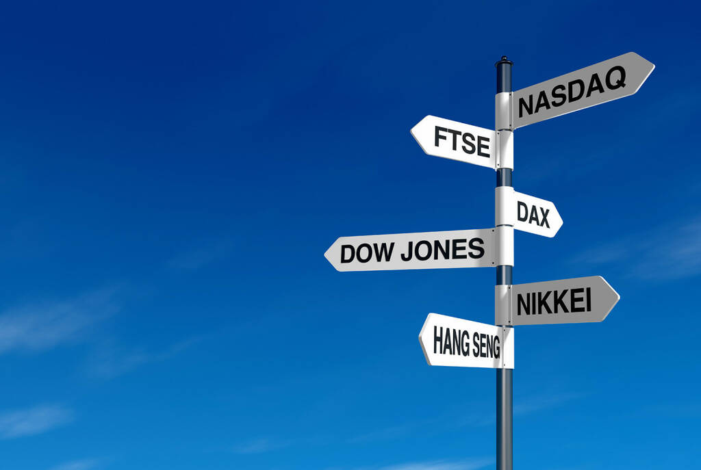 Aktienindizes, Index, Indizes, DAX, Dow Jones, NASDAQ, FTSE, Nikkei, Hang Seng http://www.shutterstock.com/de/pic-92345902/stock-photo-signpost-with-stock-market-names-and-blue-sky.html, © www.shutterstock.com (20.01.2016)